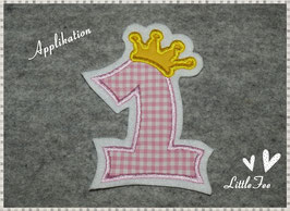 Applikation Zahl mit Krone rosa kariert