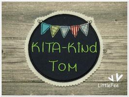 Applikation Button Kindergartenkind Wimpelkette mit Wunschnamen XL dunkelblau