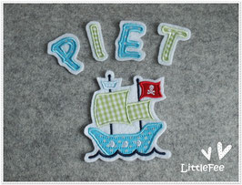Applikation Piratenboot mit Buchstaben im Set