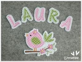 Applikation Vogel mit Buchstaben im Set
