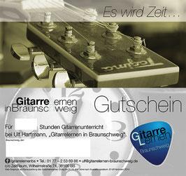 Gutschein für Gitarrenunterricht pro Stunde 45,00€