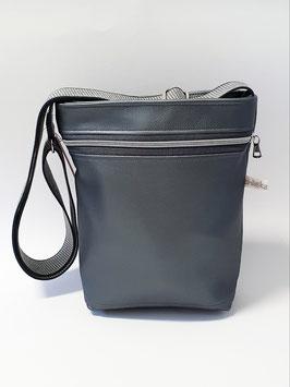 Tasche klein Kunstleder grau