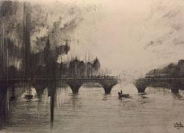Seestück mit Brücke