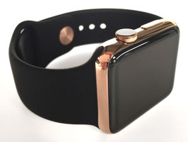 Rosé Vergoldung Ihrer Apple Watch aus Edelstahl mit Sportarmband