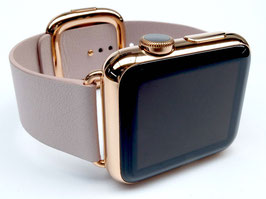 Rosé Vergoldung Ihrer Apple Watch aus Edelstahl mit modernem Lederarmband