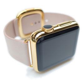 23 Karat Vergoldung Ihrer Apple Watch aus Edelstahl mit modernem Lederarmband