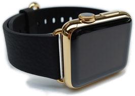 23 Karat Vergoldung Ihrer Apple Watch aus Edelstahl mit klassischem Lederarmband