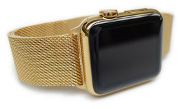 23 Karat gold plating of your Stainless Steel Apple Watch with Milanaise Loop