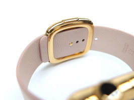 23 Karat gold plating of your Apple Watch Leather Band stainless steel details - Modern