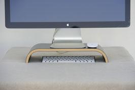 Monitorständer aus Holz, Schwarz