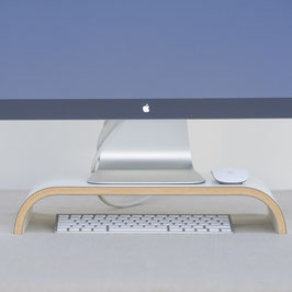 Monitorständer aus Holz Weiß
