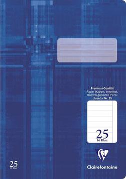 Clairefontaine Schulheft A4 Lin. 25 liniert mit Rand (Packung 25 Stück)