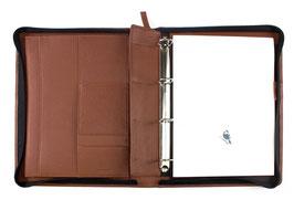 PA Ringbuchmappe A4 mit Reißverschluss - Derby Fashion Rind-Nappa-Leder