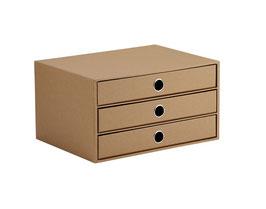 Rössler S.O.H.O. Kraft 100% Recyclingpapier - 3er Schubladenbox
