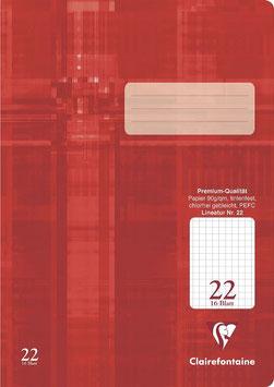 Clairefontaine Schulheft A4 Lin. 22 kariert (Packung 25 Stück)