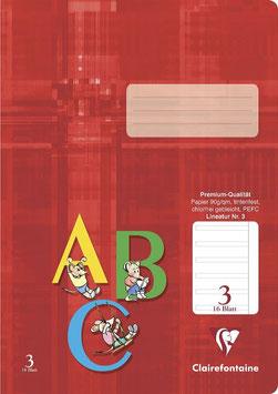 Clairefontaine Schulheft A4 Lin. 3 liniert (Packung 25 Stück)
