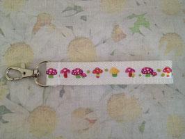 Mini-Schlüsselband mit pinkem Pilzmuster