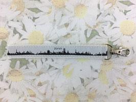 Mini-Schlüsselband mit der Skyline von Zürich weiss