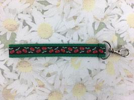 Mini-Schlüsselband mit Kirschmuster grün