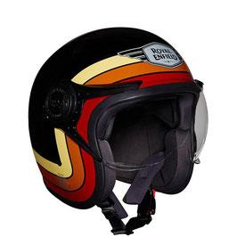 Casco Jet in fibra Royal Enfield border stripes helmet gloss black con visiera  RRGHEK00011
