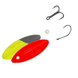 Major Fish Inline Spoon Trout  Durchlaufblinker 8 Gramm Conquerer Rot Gelb