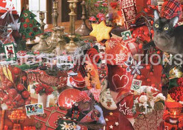ST - 325 - NOEL ROUGE A LA MAISON DE CAMPAGNE - RED CHRISTMAS AT THE COUNTRY HOUSE