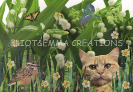 ST - 468 - CHAT et MUGUET - CAT and LILY OF THE VALLEY