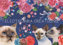 ST - 459 - CHATS et FLEURS - CATS with FLOWERS