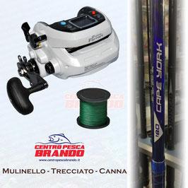 MULINELLO FISHING FERRARI KGN 1000 HI-SPEED + 1000 MT DI TRECCIATO + CANNA KALI 180 30LB