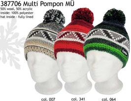 Multi Pompon Eisbär Mütze