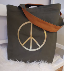 Shopper Bag Peace Khaki/Gold