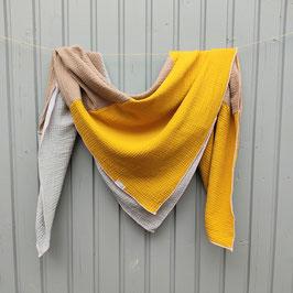 Quadratisches Tuch in grau - beige - senf