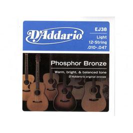 D'addario Phosphor Bronze/Light 12-str 010-047 EJ-38