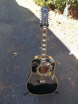 Ibanez Concord F-302 BK ~1978 Black 12 String Acoustic Guitar~w/Hard Case~Vintage~Hummingbird Style