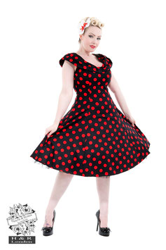 Hearts and Roses black red dots dress mt 8 (34)