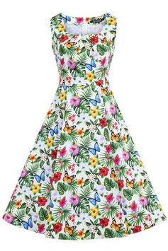 Lady Vintage jasmine summer floral swingdress yellow mt 10 (36/38)