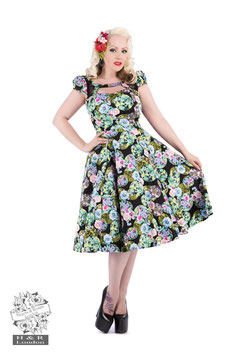 Hearts & Roses marble floral swingdress mt 16 (40/42)