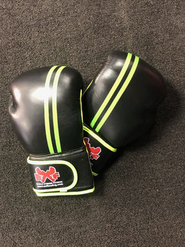 Leather Boxing Gloves - Black with Neon Green Stripe