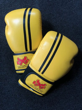 Leather Boxing Gloves - Yellow with Black Stripe