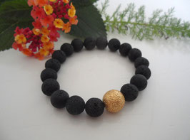 Armband Lava mit Goldkugel diamantiert