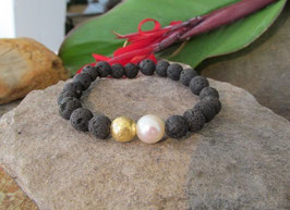 Armband Lava & Perle & Gold (8mm)