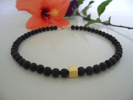 Lava-Goldwürfel-Collier (8mm)
