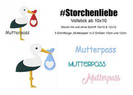 Stickdatei #Storchenliebe Mutterpass