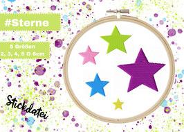 Stickdatei #SterneEinzeln 5 Größen für den 10x10 Rahmen