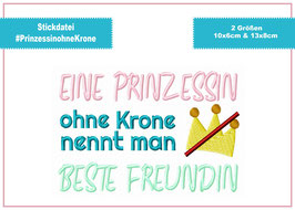 Stickdatei #PrinzessinohneKrone ab 10x10 Rahmen