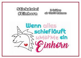 Stickdatei #Einhorn 2 Größen