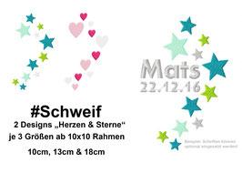 Stickdatei #Schweif Stern/Herzen ab dem 10x10 Rahmen
