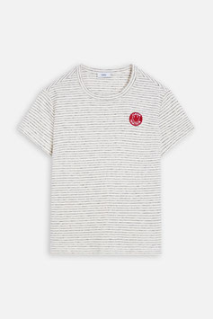 NEW IN! CLOSED |  gestreifetes T-Shirt mit Badge - ivory