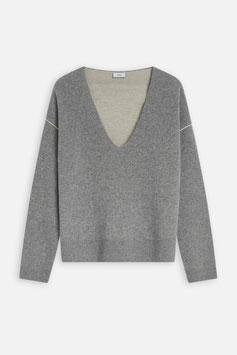 CLOSED    V-Pullover mit Kontrast-Details - grey melange
