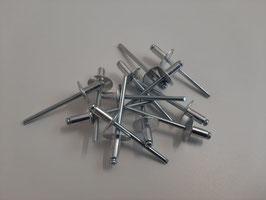 Blindniete 4 x 12 x 12 mm Aluminium Großkopf zur Drahtbefestigung
